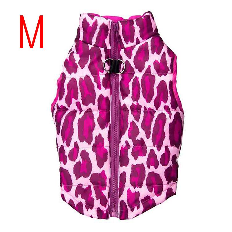 Soft Comfy Dog Vest Jacket Winter Warm Waterproof Pet Clothes Pink Leopard - Size M