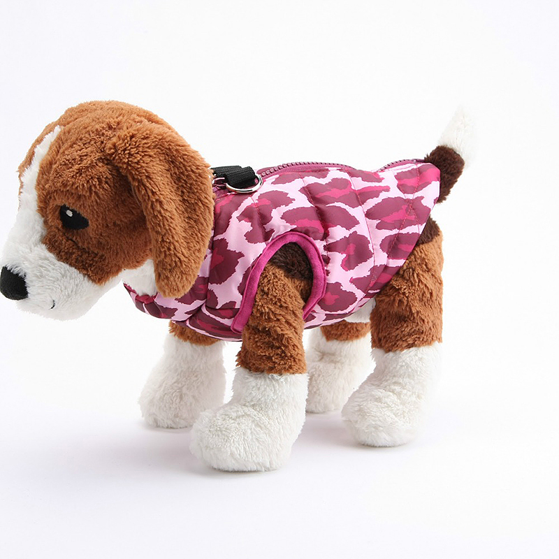 Soft Comfy Dog Vest Jacket Winter Warm Waterproof Pet Clothes Pink Leopard - Size XL