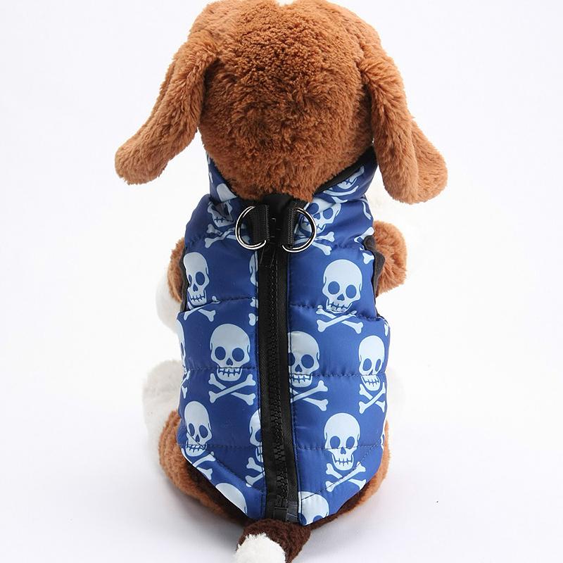 Pet Dog Warm Vest Jacket Coat Soft Winter Waterproof Clothes Costume Blue Skull - Size XS