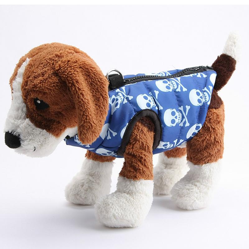 Pet Dog Warm Vest Jacket Coat Soft Winter Waterproof Clothes Costume Blue Skull - Size XL