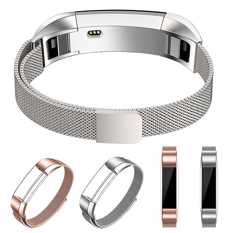 Stainless Mesh Milanese Metal Watchband Replacement Wristband Band Strap for Fitbit Alta HR - Silver