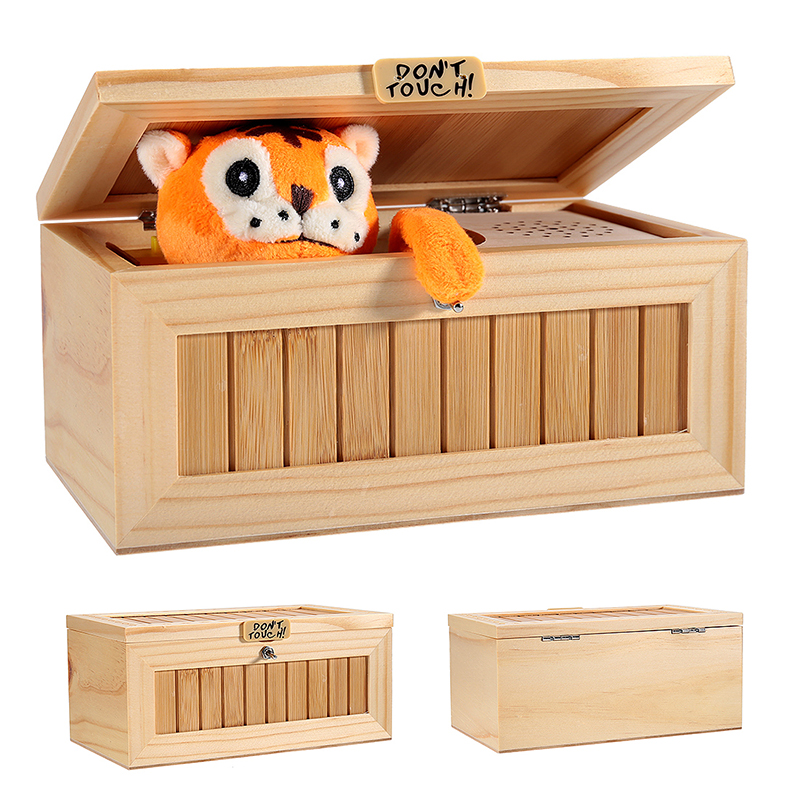 Wooden Useless Box Leave Me Alone Box Most Machine Don't Touch Tiger Toy Gift with Sound
