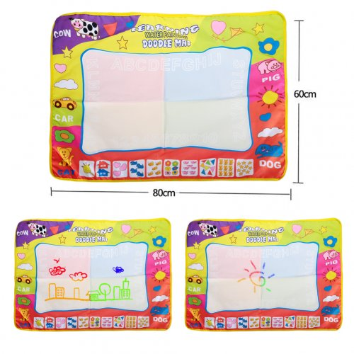 Kids Children Aqua Doodle Drawing Mat Toy Gift Four Colors Water Painting Writing Board with 2 Magic Pens 80*60CM