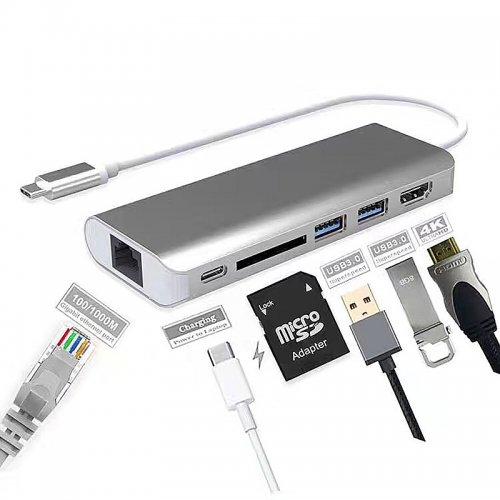 USB-C Multi-port USB Hub HDMI Adapter with Card Reader Gigabit Ethernet Adapter