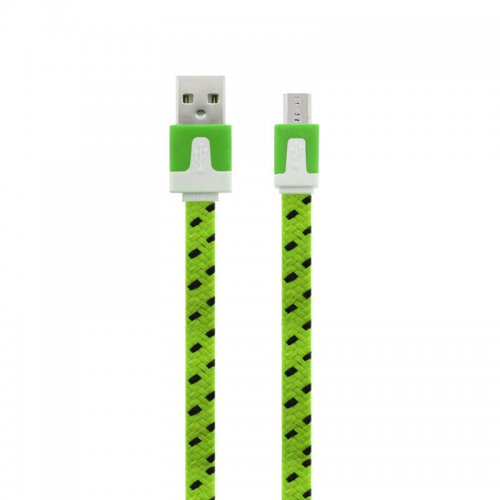 1M Flat Bicolor Braided Micro USB Sync Charger Data Cable - Green