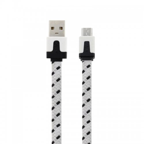 1M Flat Bicolor Braided Micro USB Sync Charger Data Cable - White