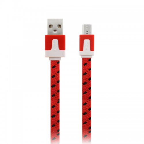 1M Flat Bicolor Braided Micro USB Sync Charger Data Cable - Red