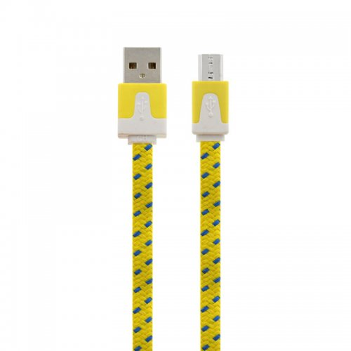 1M Flat Bicolor Braided Micro USB Sync Charger Data Cable - Yellow