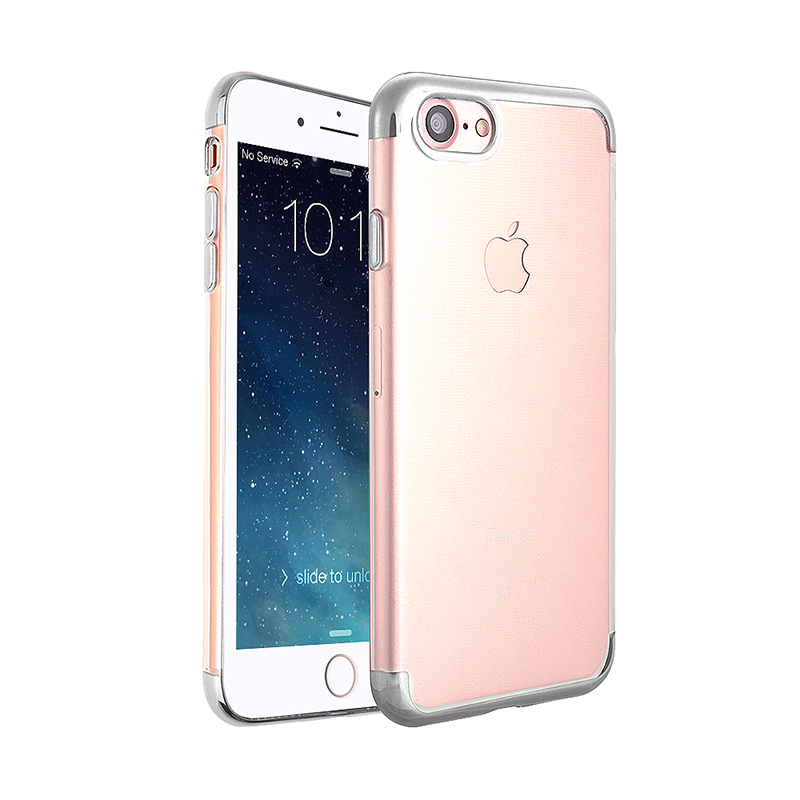 Soft TPU Silicone Shockproof Case Ultra Slim Thin Clear Back Cover for iPhone 6S Plus - Silver