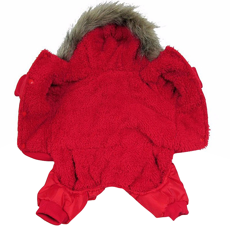 Pet Dog Puppy Winter Warm Coat Hoodie Jumpsuit Sweater Styling Jacket Costume Clothes Size XS - Red