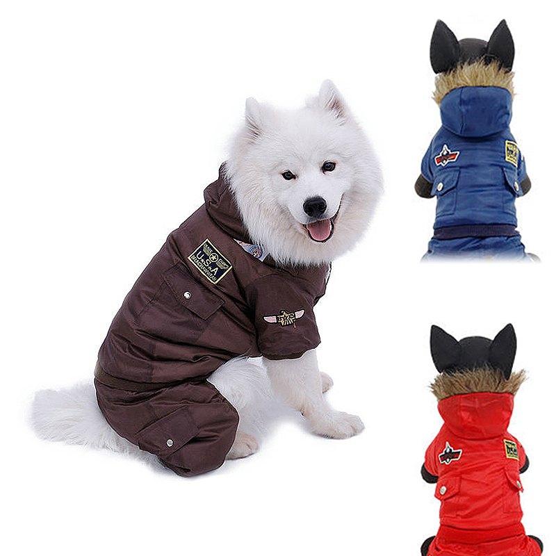 Pet Dog Puppy Winter Warm Coat Hoodie Jumpsuit Sweater Styling Jacket Costume Clothes Size XS - Blue