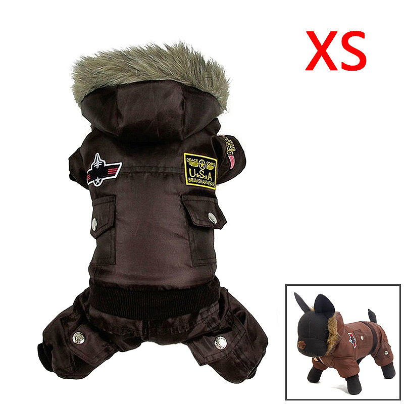 Pet Dog Puppy Winter Warm Coat Hoodie Jumpsuit Sweater Styling Jacket Costume Clothes Size XS - Brown