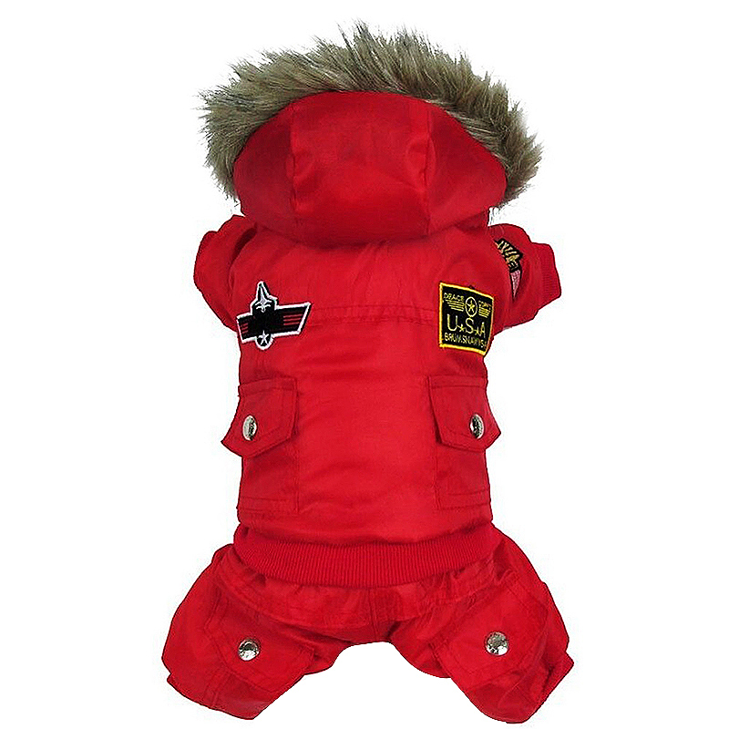 Dog Puppy Pet Styling Hoodie Jumpsuit Sweater Coat Winter Warm Jacket Costume Apparel Size M - Red