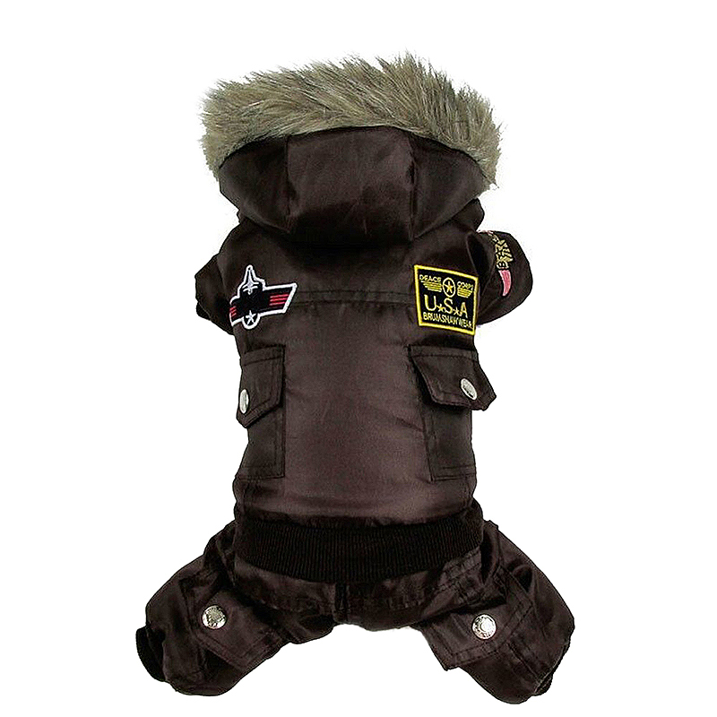 Pet Dog Winter Hoodie Jumpsuit Coat Styling Warm Sweater Jacket Costume Apparel Size L - Brown