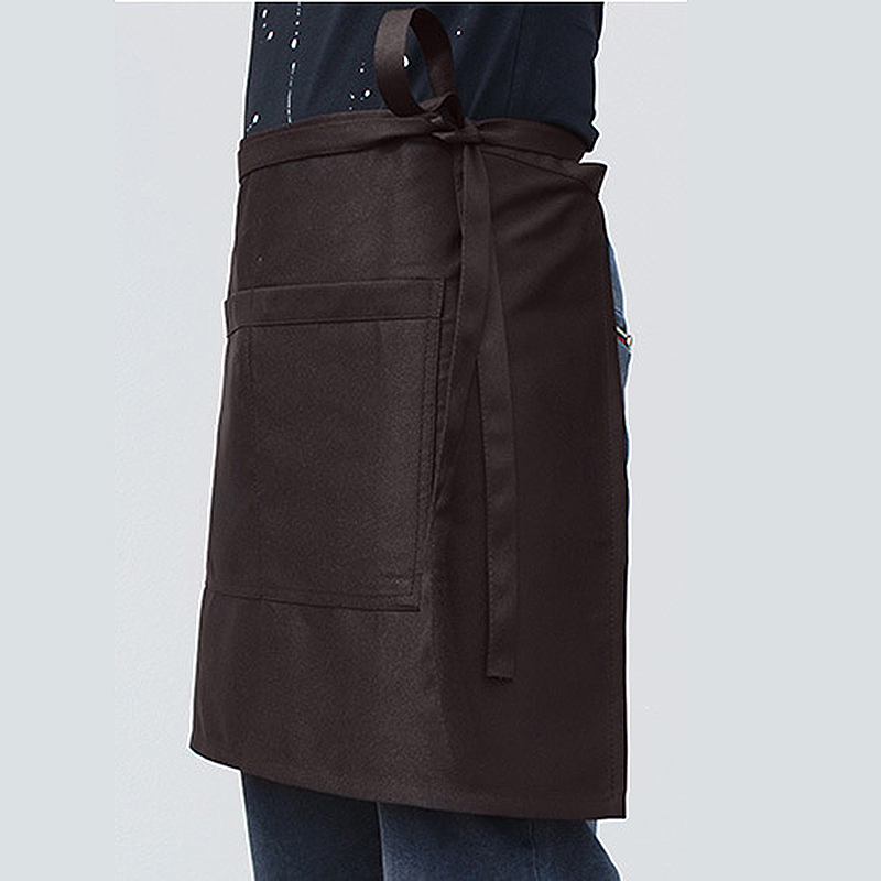 Cooking Short Apron Universal Restaurant Bistro Plain Half Wrist Aprons with Twin Double Pockets - Brown