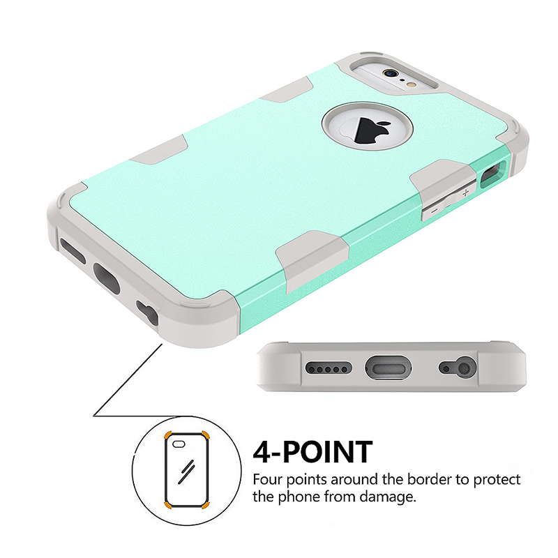 iPhone 6S TPU Bumper Shockproof Case PC Hard Back Protective Cover Shell - Green + Grey