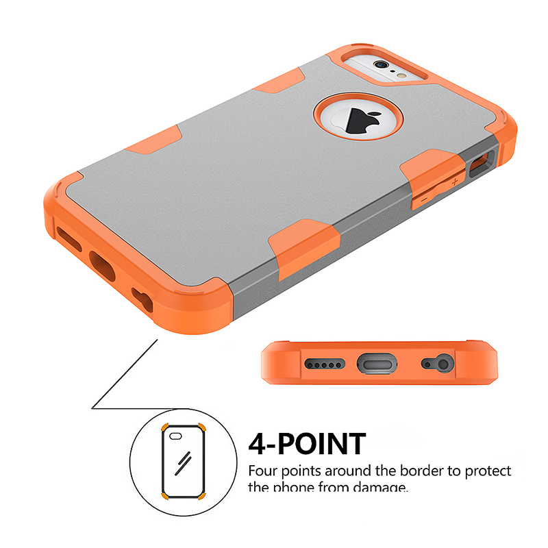 iPhone 6S TPU Bumper Shockproof Case PC Hard Back Protective Cover Shell - Grey + Orange