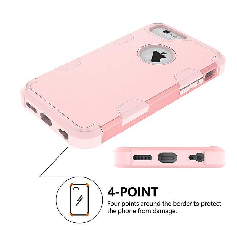 iPhone 6S TPU Bumper Shockproof Case PC Hard Back Protective Cover Shell - Rose Golden