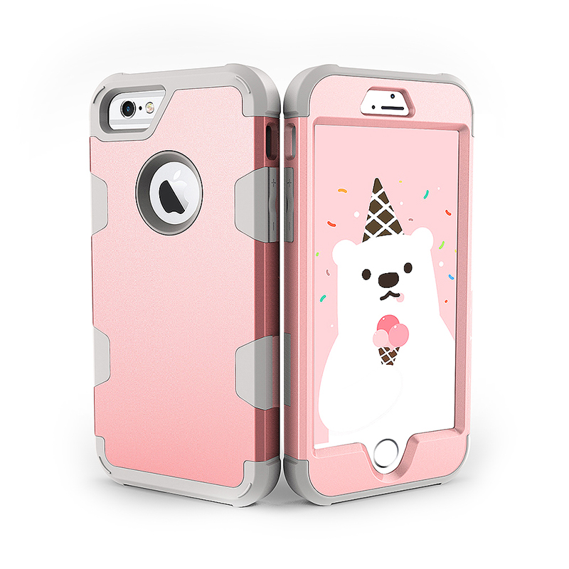 iPhone 6S TPU Bumper Shockproof Case PC Hard Back Protective Cover Shell - Rose Golden + Grey