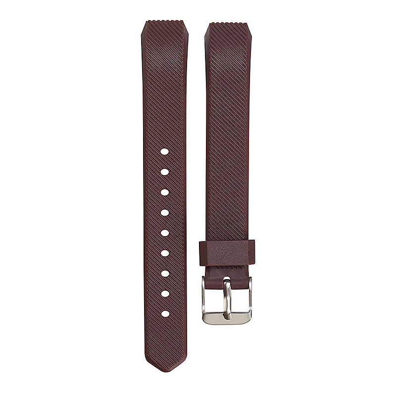 Replacement Silicone Watchband Soft TPU Adjustable Sports Watch Band Wrist Strap for Fitbit Alta HR Size L - Brown