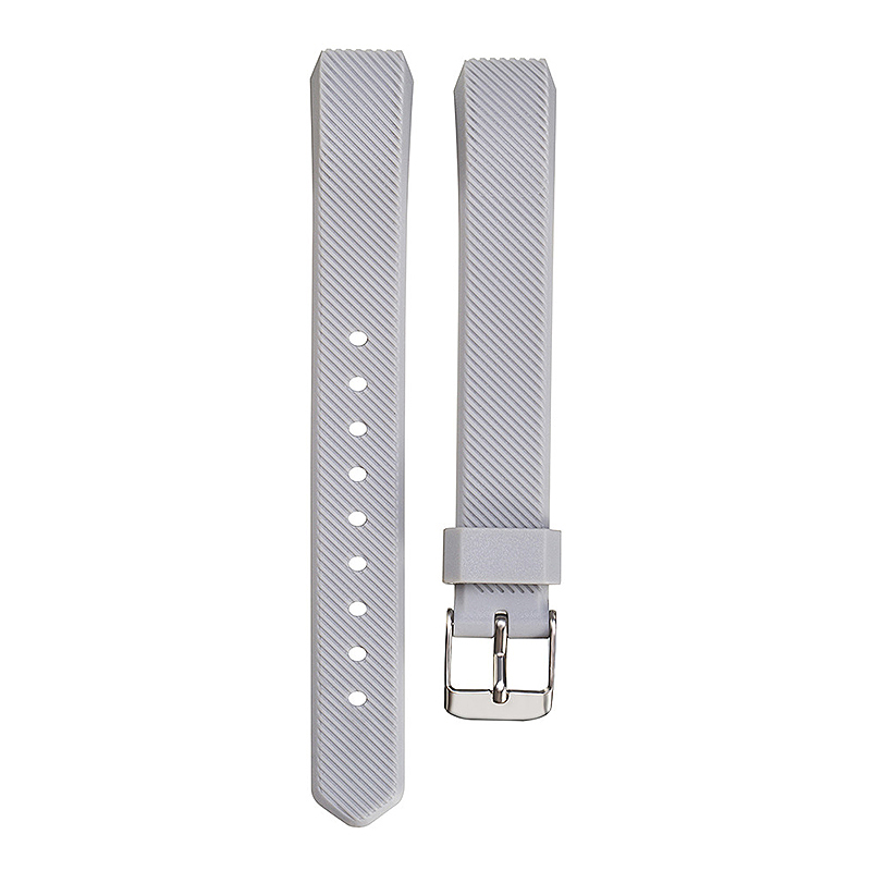 Replacement Silicone Watchband Soft TPU Adjustable Sports Watch Band Wrist Strap for Fitbit Alta HR Size L - Grey