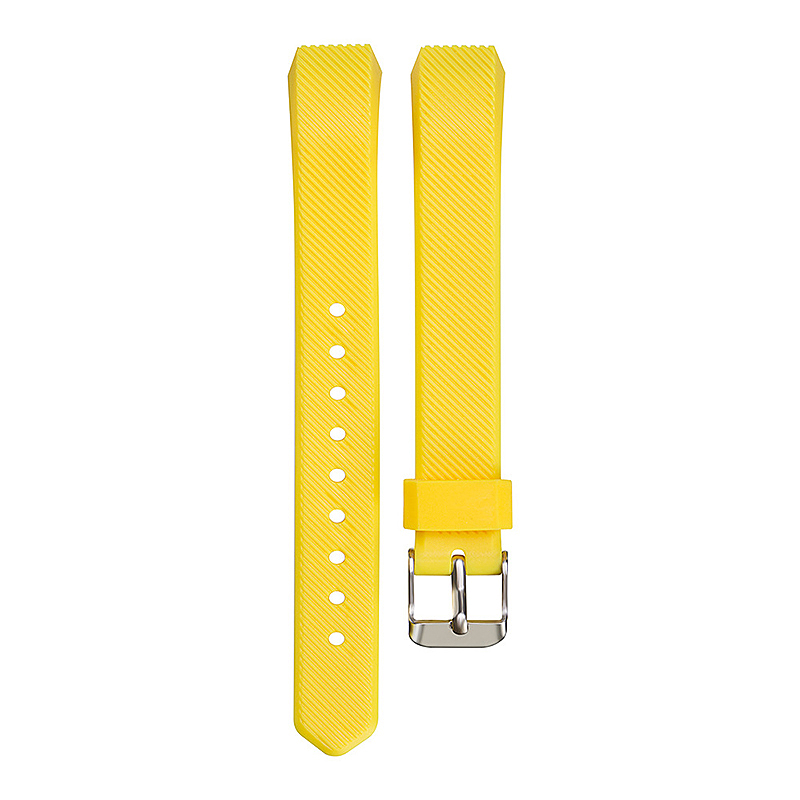 Replacement Silicone Watchband Soft TPU Adjustable Sports Watch Band Wrist Strap for Fitbit Alta HR Size L - Yellow