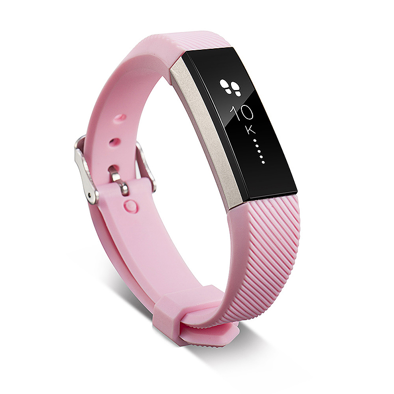 Replacement Silicone Watchband Soft TPU Adjustable Sports Watch Band Wrist Strap for Fitbit Alta HR Size L - Pink