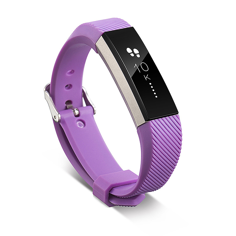 Replacement Silicone Watchband Soft TPU Adjustable Sports Watch Band Wrist Strap for Fitbit Alta HR Size L - Purple