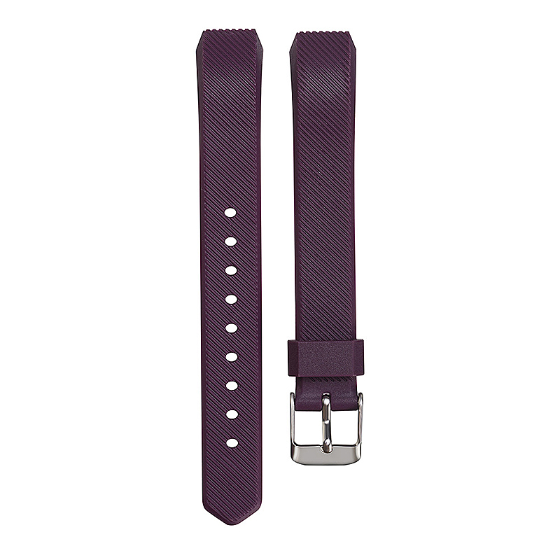Replacement Silicone Watchband Soft TPU Adjustable Sports Watch Band Wrist Strap for Fitbit Alta HR Size L - Dark Purple