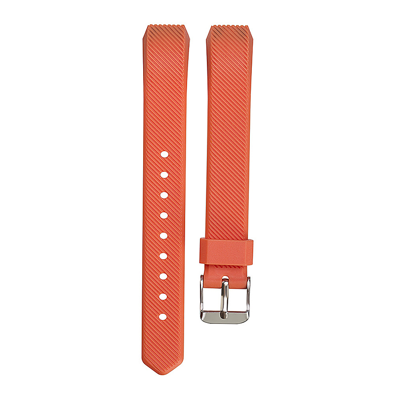 Replacement Silicone Watchband Soft TPU Adjustable Sports Watch Band Wrist Strap for Fitbit Alta HR Size L - Orange