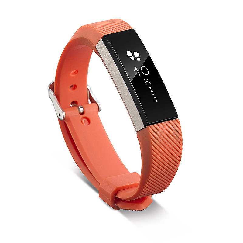 Silicone Sports Adjustable Replacement Watch Band Wristband Strap for Fitbit Alta HR Size S - Orange