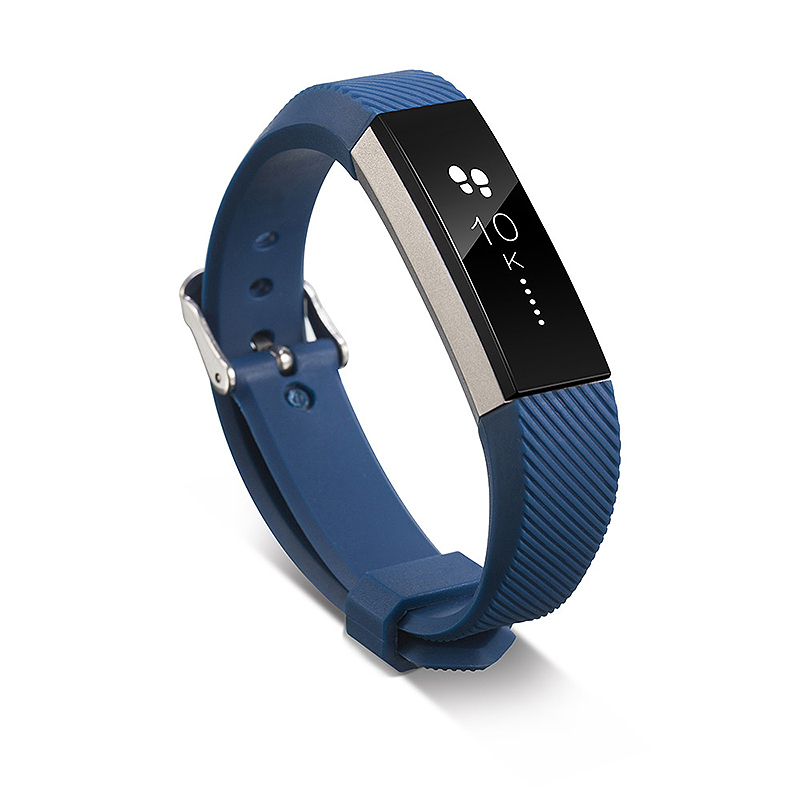 Silicone Sports Adjustable Replacement Watch Band Wristband Strap for Fitbit Alta HR Size S - Dark Blue