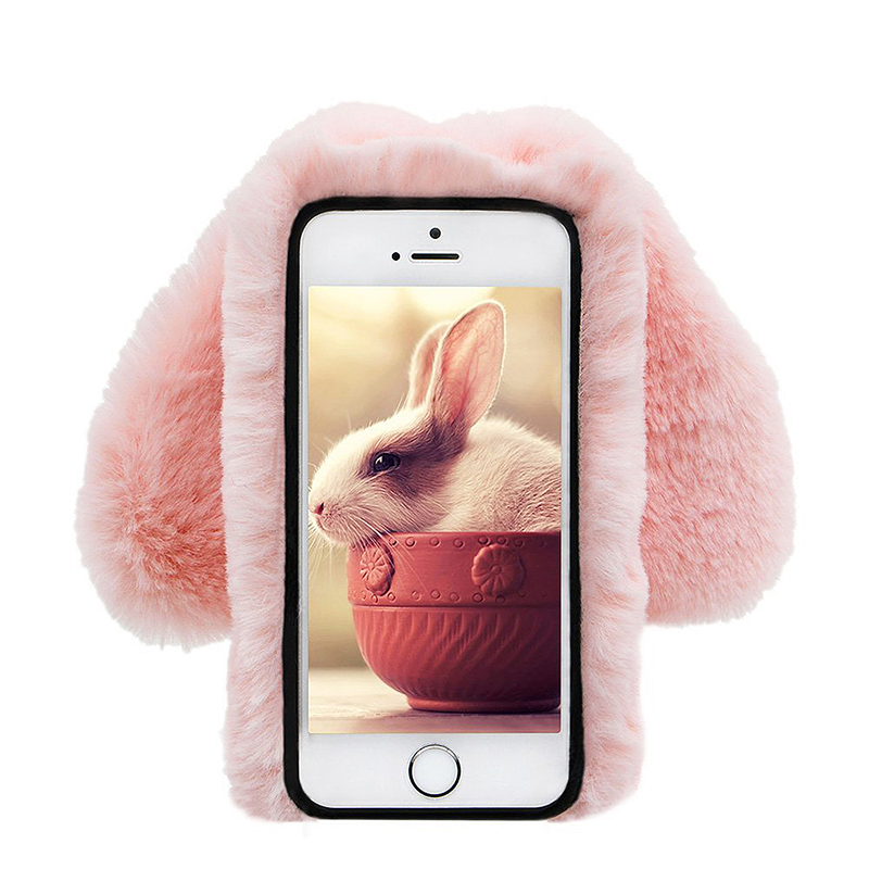 iPhone 6S Bunny Rabbit Fur Plush Fuzzy Fluffy Case Luxury Bling Diamond Decor Soft TPU Back Cover - Pink