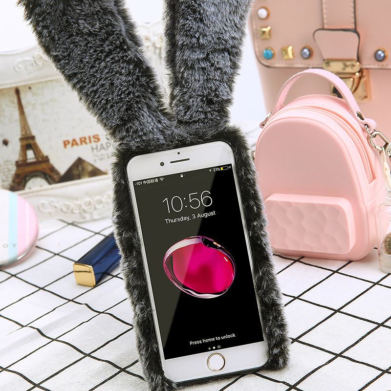 iPhone 6S Plus Fashion Bunny Rabbit Fur Plush TPU Case Bling Diamond Warm Soft Fuzzy Fluffy Back Cover - Grey