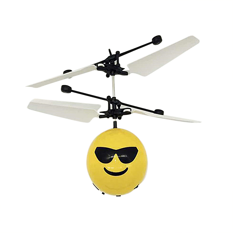 Hand Flying Emoji Ball LED Induction Suspension Aircraft Kids Drone Flight Toys - Sunglasses