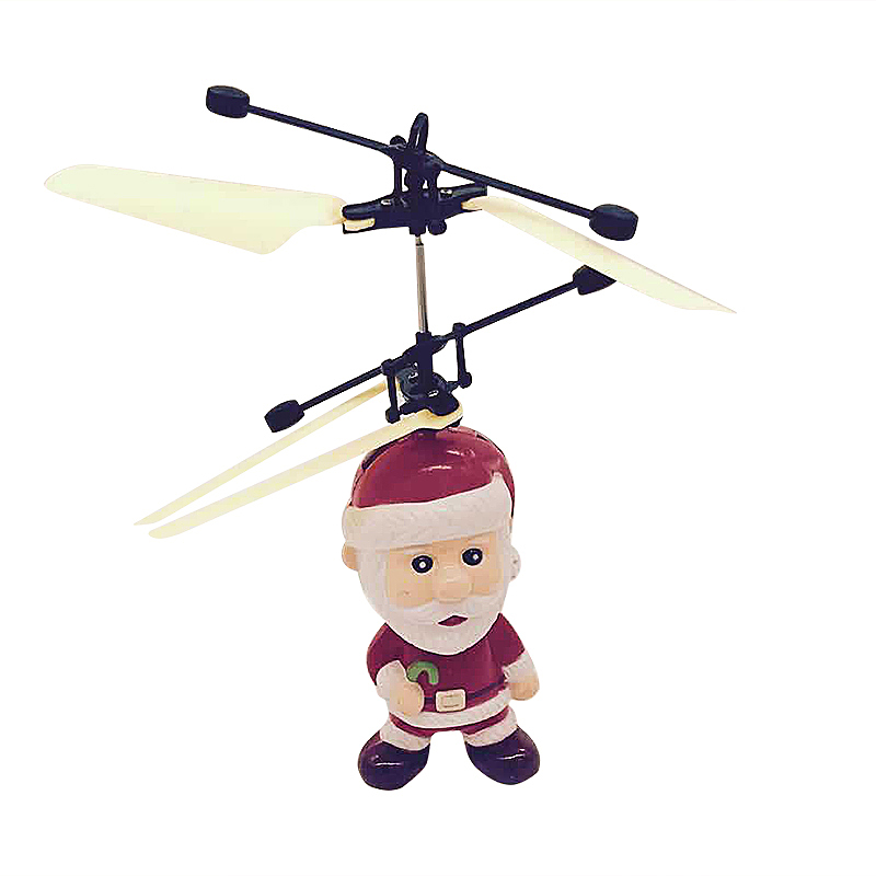 LED Flying Santa Claus Helicopter Hand Sensor Aircraft Toys Kids Christmas Gifts