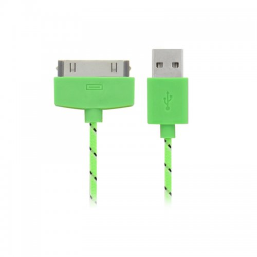 1M Knitted Connector to USB Charge & Data Cable for iPhone 4- Green
