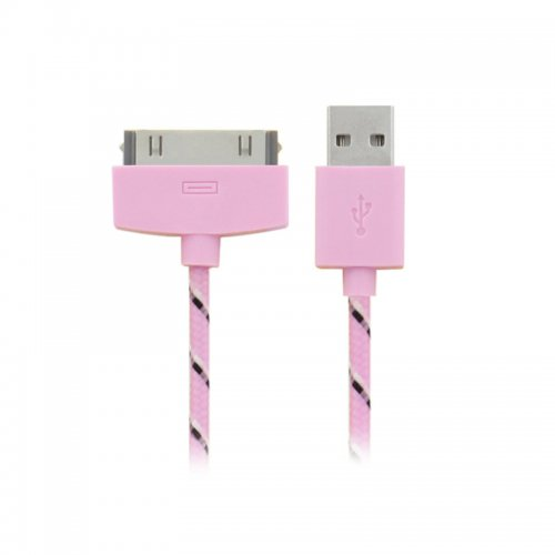 1M Knitted Connector to USB Charge & Data Cable for iPhone 4- Pink