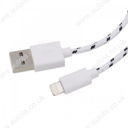 2M Length Woven Connector to USB Power & Data Cable for Apple iPhone X 8 7 Plus 6 5--White