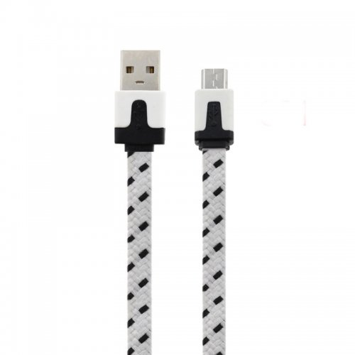 3M Flat Bicolor Braided Micro USB Sync Charger Data Cable - White