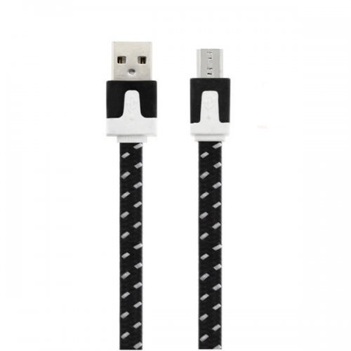 2M Flat Bicolor Braided Micro USB Sync Charger Data Cable - Black