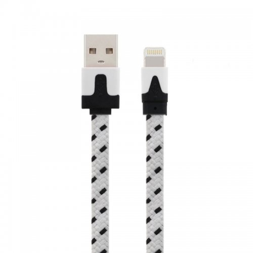 2M Bicolor Braided 8 Pin Flat Sync Charger Data Cable for iPhone 5/6/6 Plus/7/8 Plus/X - White