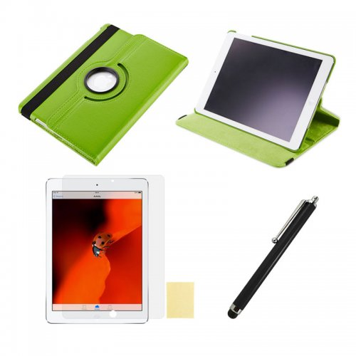 Green 360 Rotation Case + Screen Film + Touch Screen Pen For iPad 5(Air)