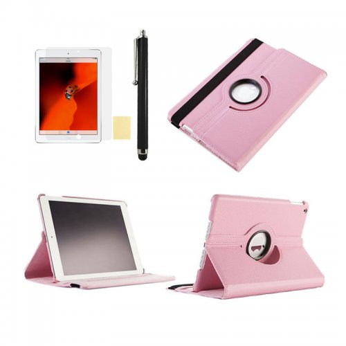 Pink 360 Rotation Case + Screen Film + Touch Screen Pen For iPad 5(Air)