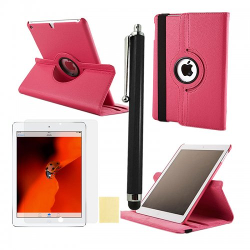 Rose Red 360 Rotation Case + Screen Film + Touch Screen Pen For iPad 5(Air)