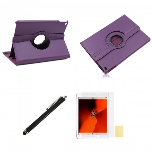 Purple 360 Rotation Case + Screen Film + Touch Screen Pen For iPad 5(Air)