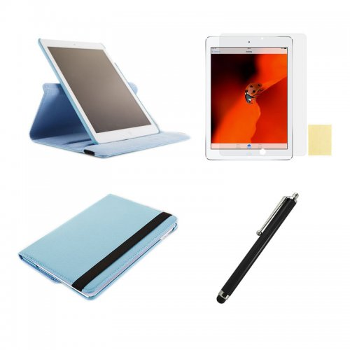 Light Blue 360 Rotation Case + Screen Film + Touch Screen Pen For iPad 5(Air)