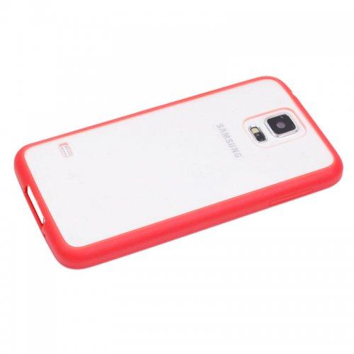 Transparent Back Gel Case Cover for Samsung S5- Red