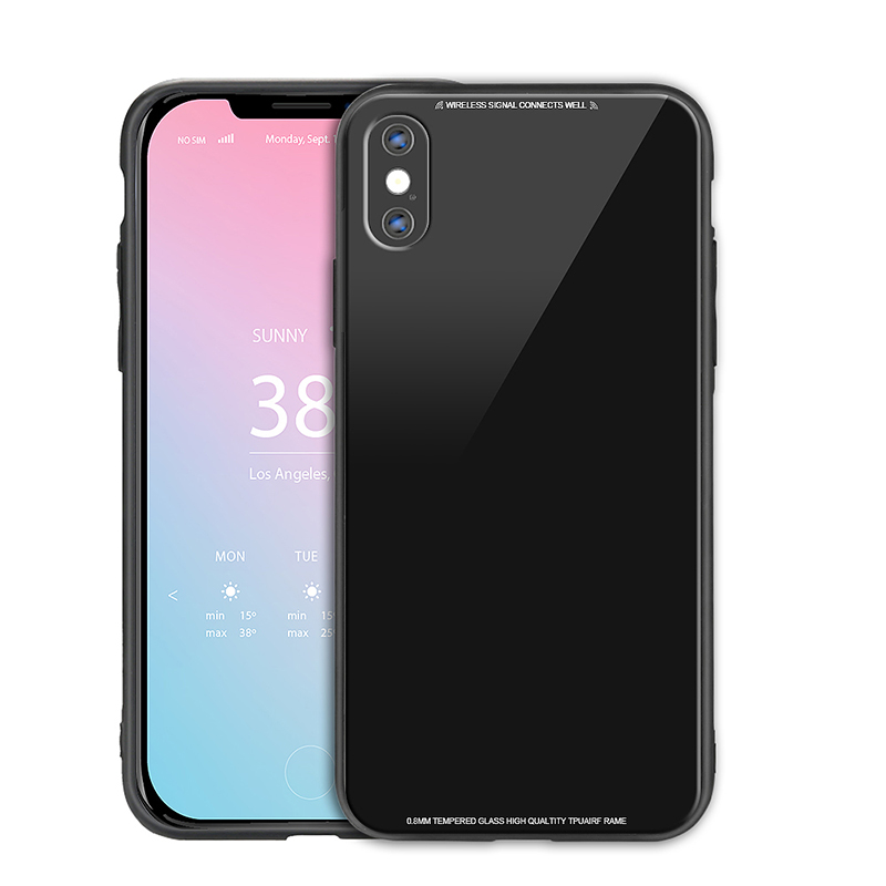 iPhone X/XS Tempered Glass Case Slim Soft TPU Bumper Shockproof Back Cover Shell - Black