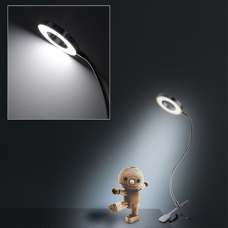 Flexible USB LED Light Hollow Metal Clip-on Bed Table Desk Study Night Reading Lamp - Silver